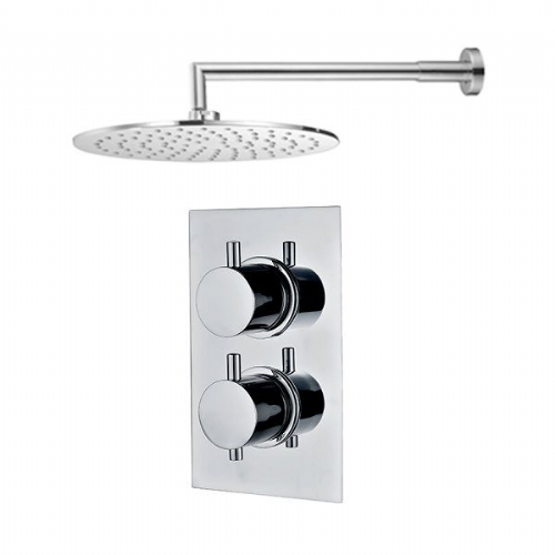 Abacus Emotion Thermostatic Round Concealed Shower Mixer With Round OverHead - Chrome